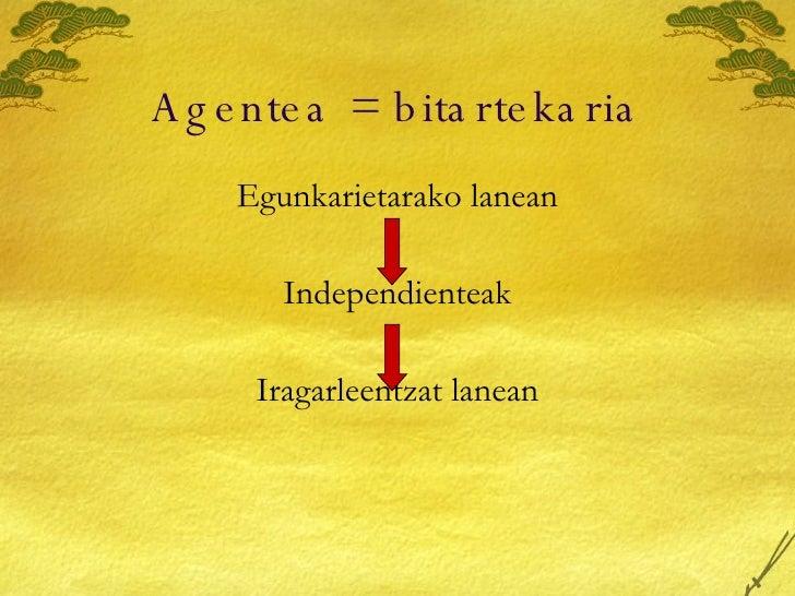 Agentea = bitartekaria <ul><li>Egunkarietarako lanean </li></ul><ul><li>Independienteak </li></ul><ul><li>Iragarleentzat l...