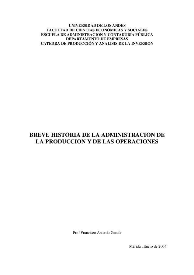 UNIVERSIDAD DE LOS ANDES FACULTAD DE CIENCIAS ECONÓMICAS Y SOCIALES ESCUELA DE ADMINISTRACION Y CONTADURIA PÚBLICA DEPARTA...