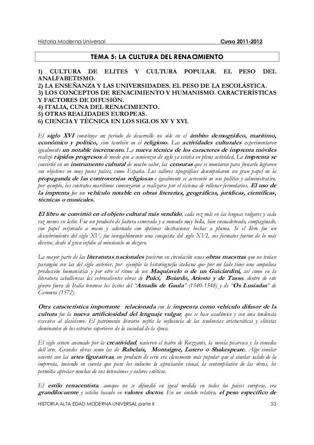 Historia Moderna Universal Curso 2011-2012 HISTORIA ALTA EDAD MODERNA UNIVERSAL parte II 53 TEMA 5: LA CULTURA DEL RENACIM...