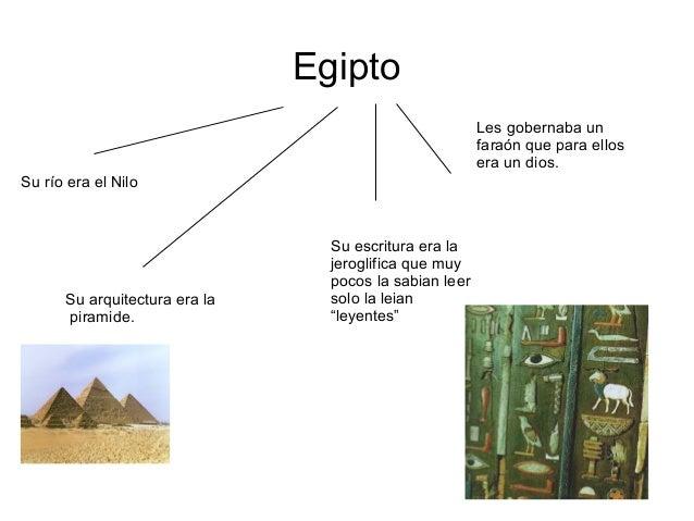 EgiptoSu río era el NiloLes gobernaba unfaraón que para ellosera un dios.Su escritura era lajeroglifica que muypocos la sa...