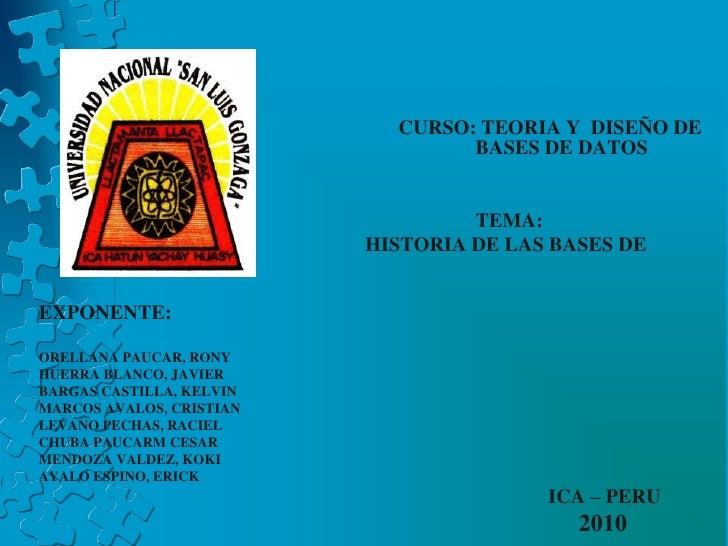 """UNIVERSIDAD NACIONAL <br />                            """"SAN LUIS GONZAGA"""" DE ICA<br />CURSO: TEORIA Y  DISEÑO DE ..."""