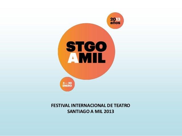 FESTIVAL INTERNACIONAL DE TEATRO       SANTIAGO A MIL 2013