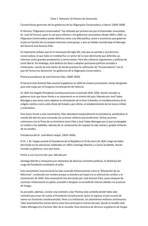 Clase 1 Semestre 10 Historia de Venezuela.Características generales de los gobiernos de las Oligarquías Conservadora y Lib...