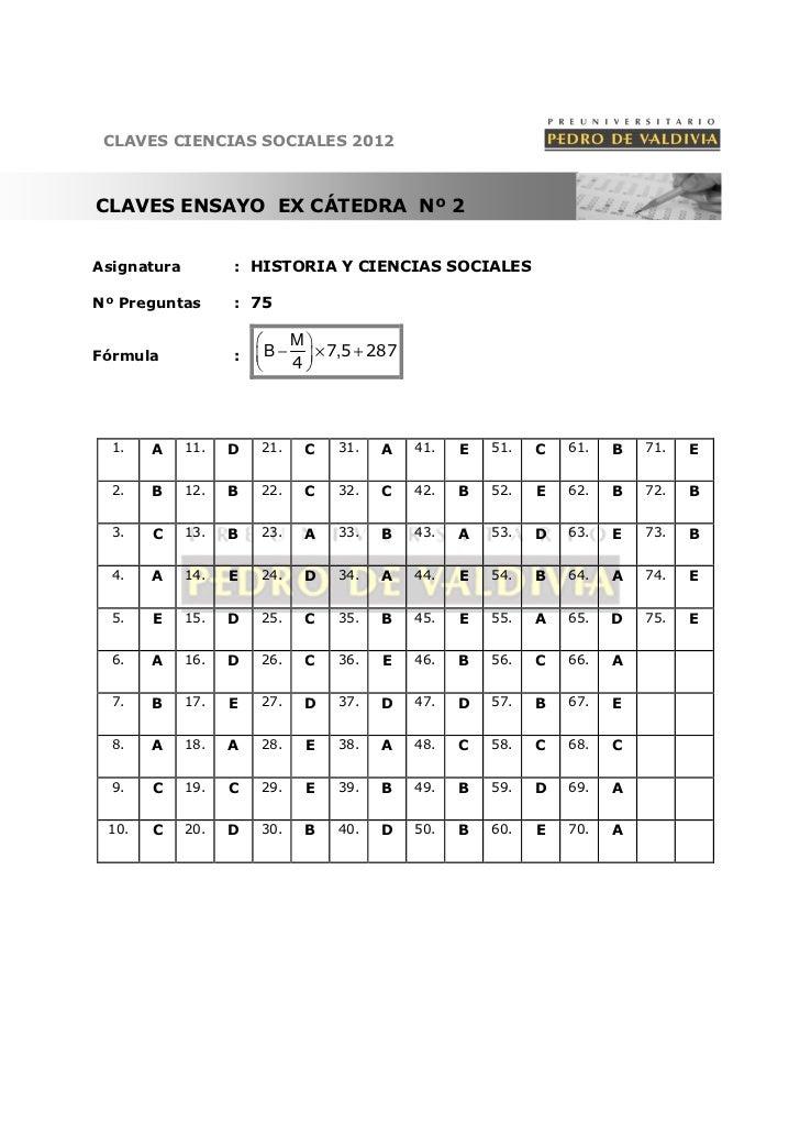 CLAVES CIENCIAS SOCIALES 2012CLAVES ENSAYO EX CÁTEDRA Nº 2Asignatura         : HISTORIA Y CIENCIAS SOCIALESNº Preguntas   ...