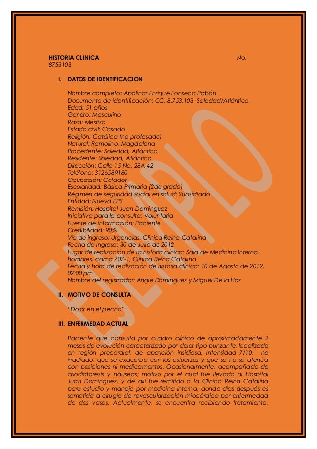 HISTORIA CLINICA No.8753103I. DATOS DE IDENTIFICACIONNombre completo: Apolinar Enrique Fonseca PabónDocumento de identific...