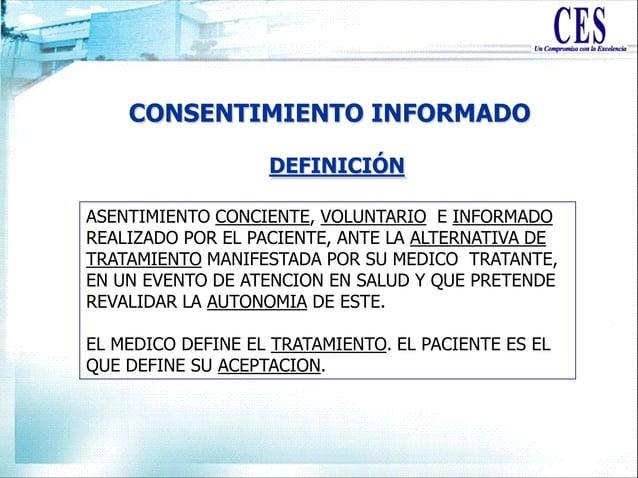 CONSENTIMIENTO INFORMADO ASENTIMIENTO CONCIENTE, VOLUNTARIO E INFORMADO REALIZADO POR EL PACIENTE, ANTE LA ALTERNATIVA DE ...