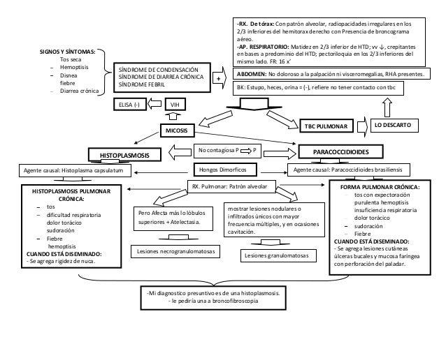 -RX. De tórax: Con patrón alveolar, radiopacidades irregulares en los 2/3 inferiores del hemitorax derecho con Presencia d...
