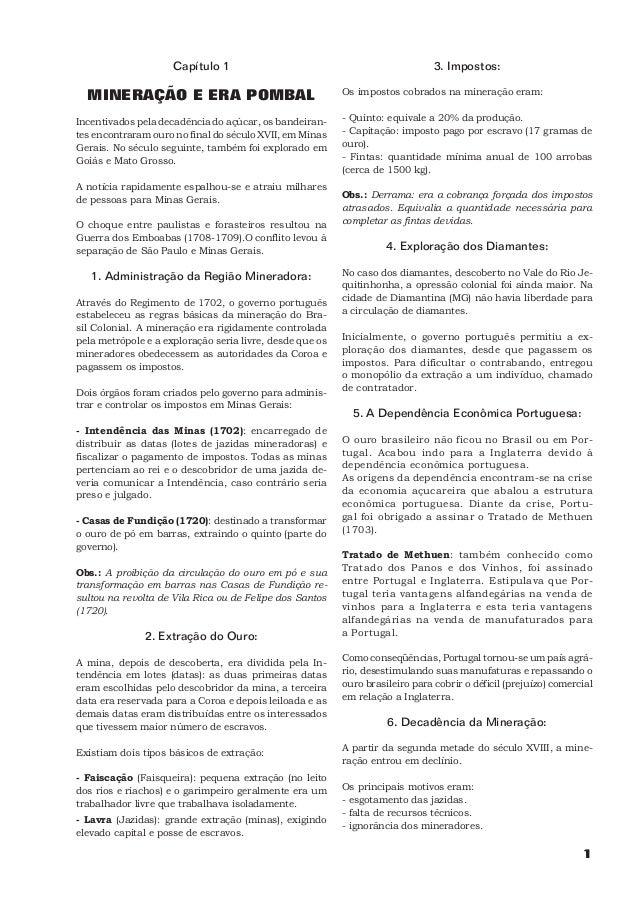 Capítulo 1                                                3. Impostos:  MINERAÇÃO E ERA POMBAL                            ...