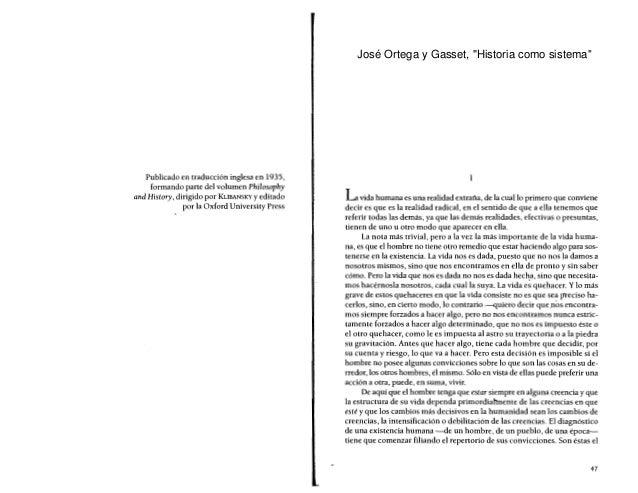 """José Ortega y Gasset, """"Historia como sistema"""""""