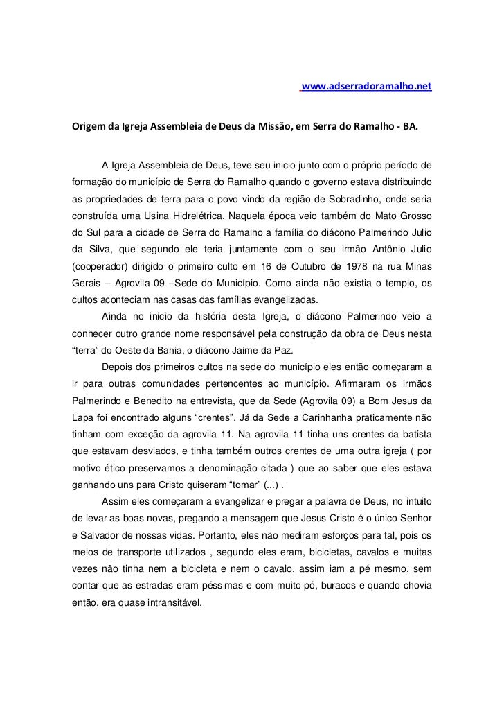 www.adserradoramalho.netOrigem da Igreja Assembleia de Deus da Missão, em Serra do Ramalho - BA.       A Igreja Assembleia...
