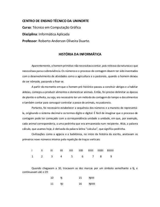 CENTRO DE ENSINO TÉCNICO DA UNINORTE  Curso: Técnico em Computação Gráfica  Disciplina: Informática Aplicada  Professor: R...