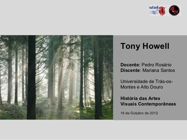 Tony HowellDocente: Pedro RosárioDiscente: Mariana SantosUniversidade de Trás-os-Montes e Alto DouroHistória das ArtesVisu...