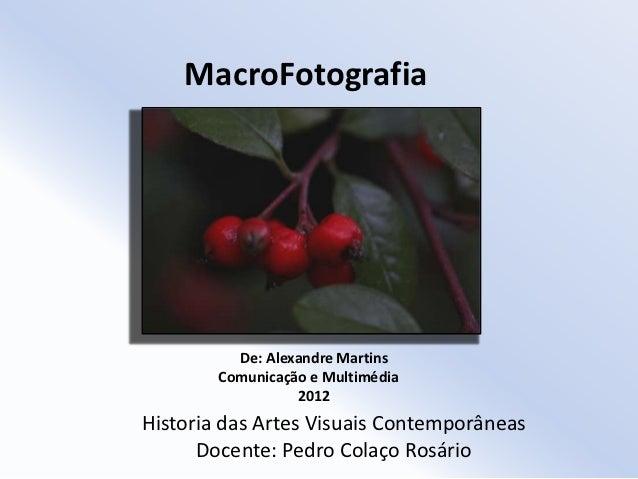 MacroFotografia          De: Alexandre Martins        Comunicação e Multimédia                  2012Historia das Artes Vis...