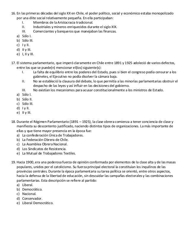 Historia de Chile 3° medio - Prueba del Período Parlamentario (1891 -…