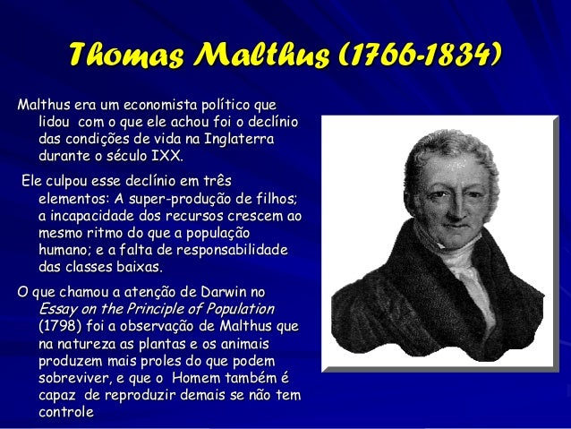 thomas malthus essay on population Thomas malthus: thomas malthus, english economist known for his theory that population growth will always tend to outrun the food supply.