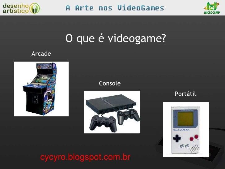 O que é videogame?Arcade                Console                              Portátil  cycyro.blogspot.com.br