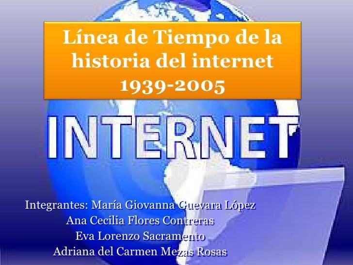 Línea de Tiempo de la  historia del internet  1939-2005<br />Integrantes: María Giovanna Guevara López<br />Ana Cecilia Fl...