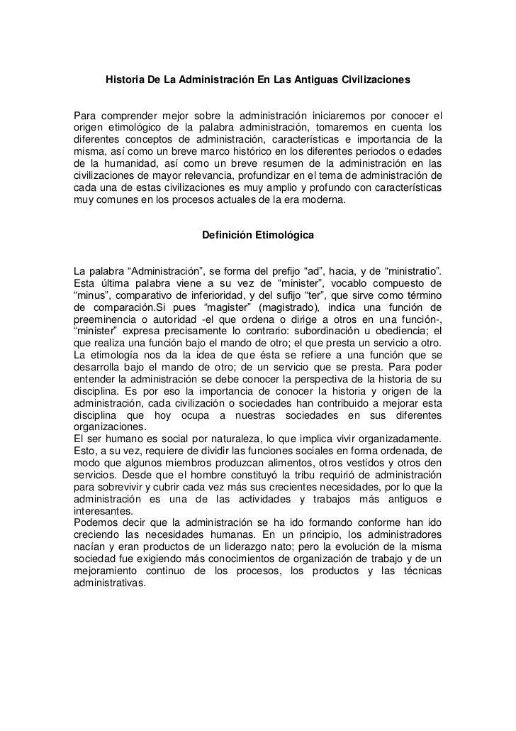 Historia De La Administración En Las Antiguas CivilizacionesPara comprender mejor sobre la administración iniciaremos por ...