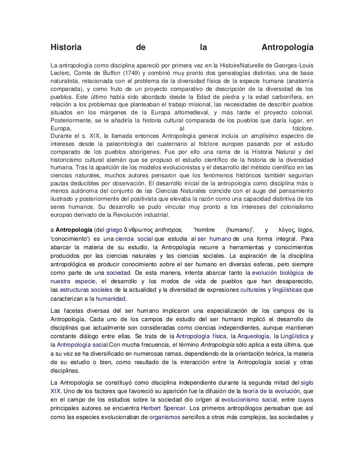 Historia                         de                       la                     AntropologíaLa antropología como discipli...