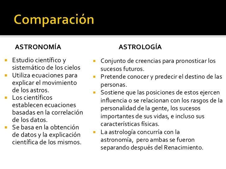 ASTRONOMÍA                         ASTROLOGÍA Estudio científico y         Conjunto de creencias para pronosticar los  s...