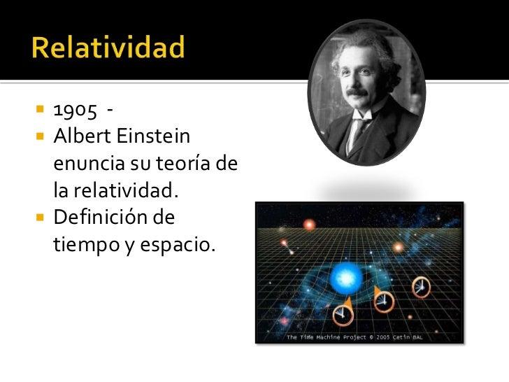    1905 -   Albert Einstein    enuncia su teoría de    la relatividad.   Definición de    tiempo y espacio.