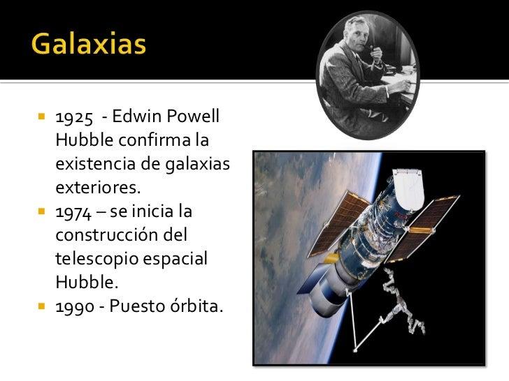  1925 - Edwin Powell  Hubble confirma la  existencia de galaxias  exteriores. 1974 – se inicia la  construcción del  tel...