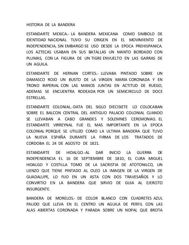 HISTORIA DE LA BANDERA ESTANDARTE MEXICA.- LA BANDERA MEXICANA COMO SIMBOLO DE IDENTIDAD NACIONAL TUVO SU ORIGEN EN EL MOV...