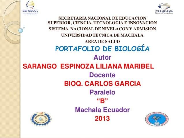 SECRETARIA NACIONAL DE EDUCACION SUPERIOR, CIENCIA, TECNOLOGIA E INNOVACION SISTEMA NACIONAL DE NIVELACON Y ADMISION UNIVE...