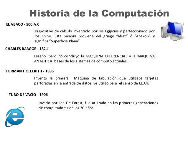 Historia de la Computación EL ABACO - 500 A.C Dispositivo de cálculo inventado por los Egipcios y perfeccionado por los ch...