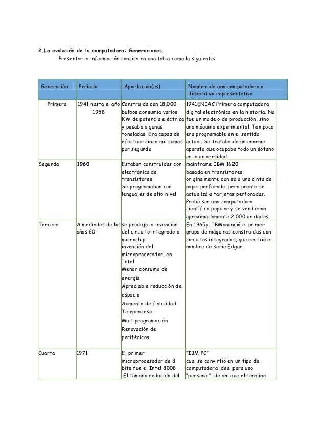 2.La evolución de la computadora: Generaciones.          Presentar la información concisa en una tabla como la siguiente:G...