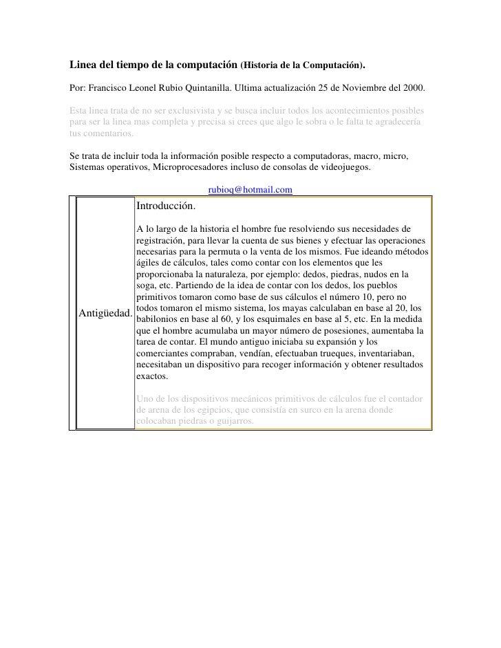 Linea del tiempo de la computación (Historia de la Computación). <br />Por: Francisco Leonel Rubio Quintanilla. Ultima act...