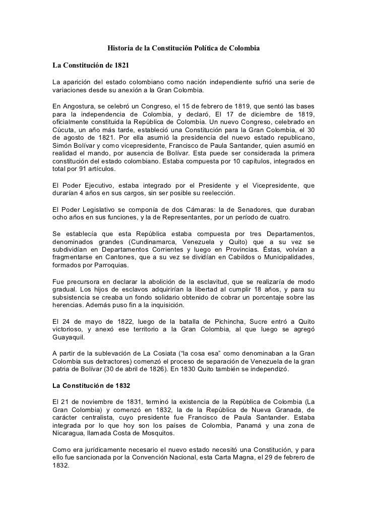Historia de la Constitución Política de ColombiaLa Constitución de 1821La aparición del estado colombiano como nación inde...