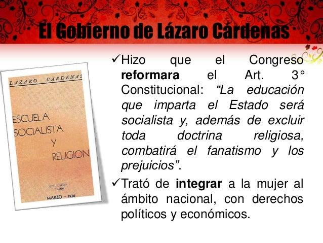 Acciones educativas de Cárdenas  Simiente, libro de texto en 1934  • La educación socialista, trataba de excluir toda doct...