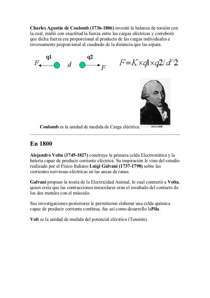 Charles Agustín de Coulomb (1736-1806) inventó la balanza de torsión conla cual, midió con exactitud la fuerza entre las c...