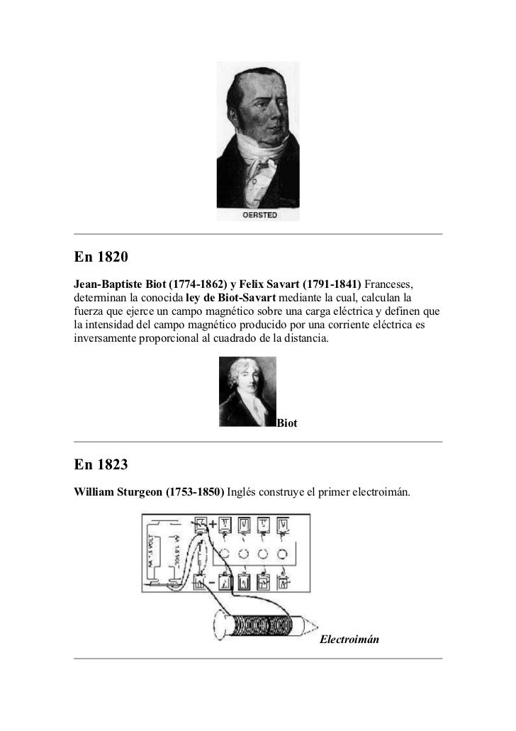 En 1820Jean-Baptiste Biot (1774-1862) y Felix Savart (1791-1841) Franceses,determinan la conocida ley de Biot-Savart media...
