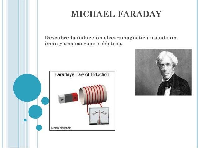 MICHAEL FARADAY Descubre la inducción electromagnética usando un imán y una corriente eléctrica al usar un imán para gener...