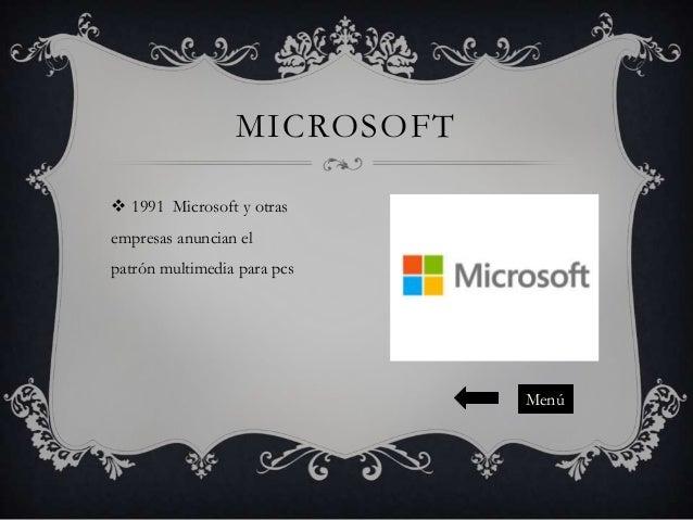 MICROSOFT  1991 Microsoft y otras empresas anuncian el patrón multimedia para pcs  Menú