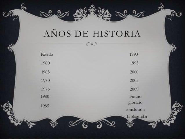 AÑOS DE HISTORIA Pasado  1990  1960  1995  1965  2000  1970  2005  1975  2009  1980  Futuro glosario  1985  conclusión bib...