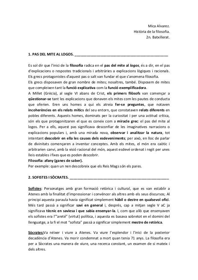 Mica Alvarez. Història de la filosofia. 2n. Batxillerat.  1. PAS DEL MITE AL LOGOS. ______________________________________...
