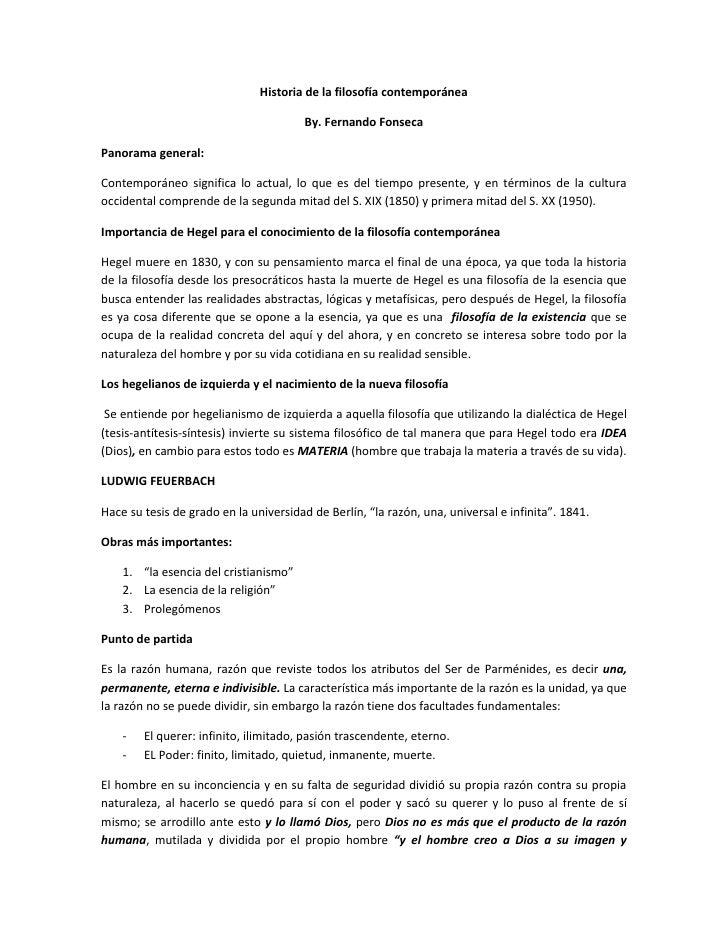 Historia de la filosof a contempor nea por fernando fonseca for Caracteristicas de la contemporanea