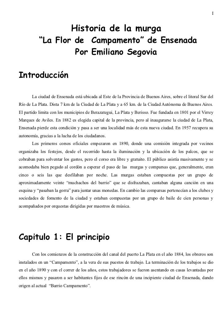 "I                            Historia de la murga           ""La Flor de Campamento"" de Ensenada                    Por Emi..."