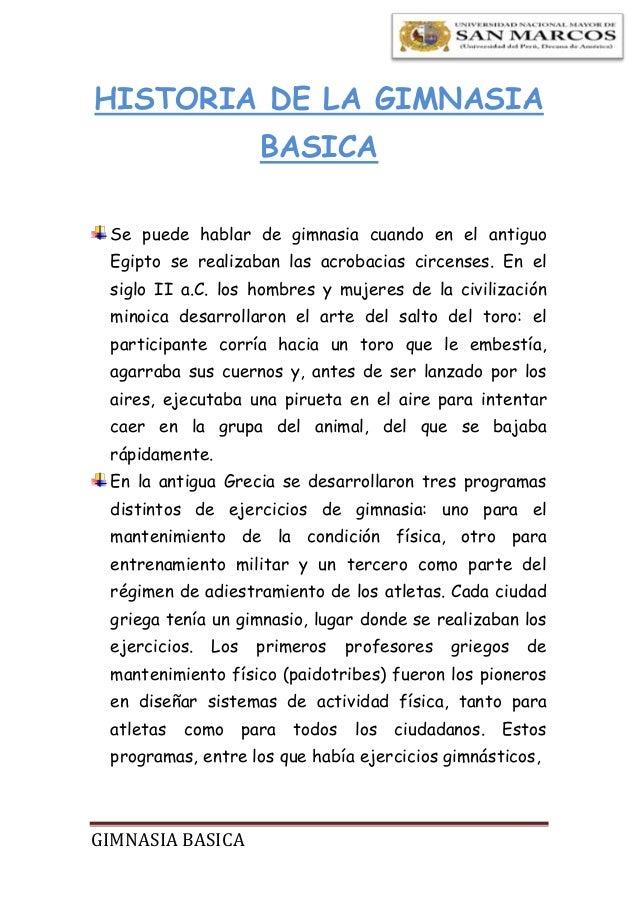 Historia de la gimnasia basica for Gimnasia informacion