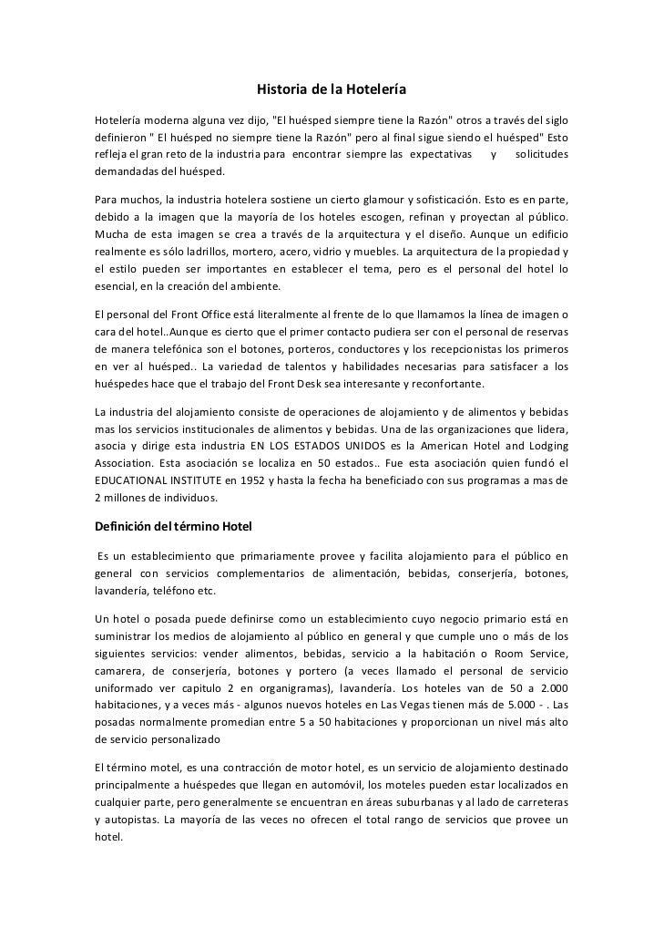 """HistoriadelaHotelería Hoteleríamodernaalgunavezdijo,""""ElhuéspedsiempretienelaRazón""""otrosatravésdelsiglo..."""