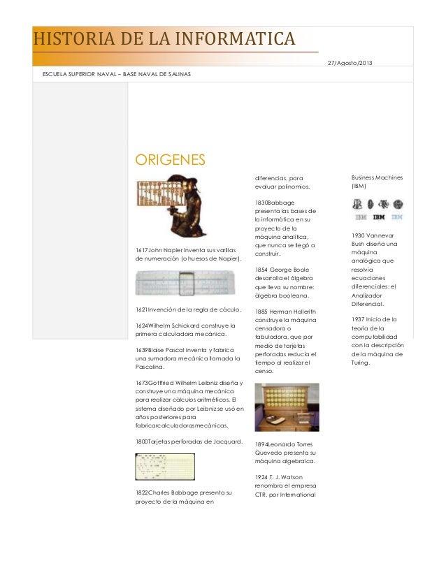 HISTORIA DE LA INFORMATICA 27/Agosto/2013 ESCUELA SUPERIOR NAVAL – BASE NAVAL DE SALINAS ORIGENES 1617John Napier inventa ...