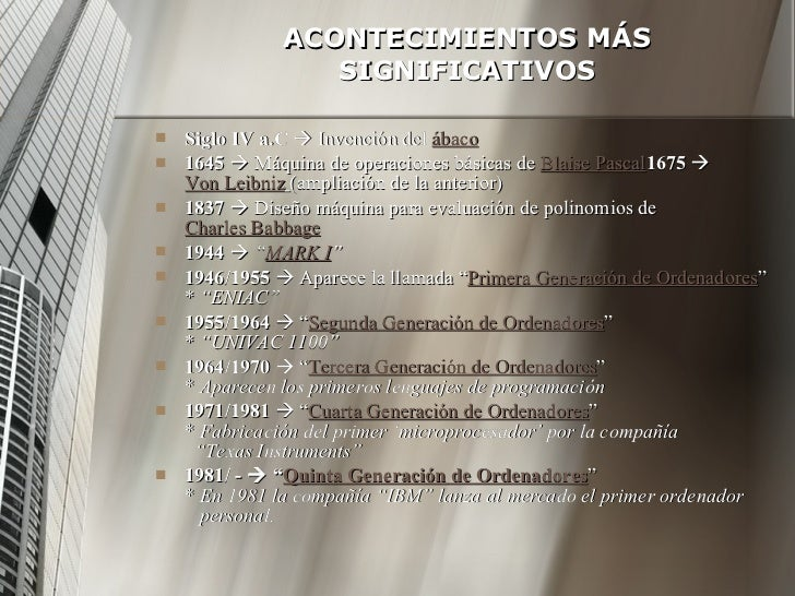 ACONTECIMIENTOS MÁS SIGNIFICATIVOS <ul><li>Siglo IV a.C     Invención del  ábaco </li></ul><ul><li>1645     Máquina de o...