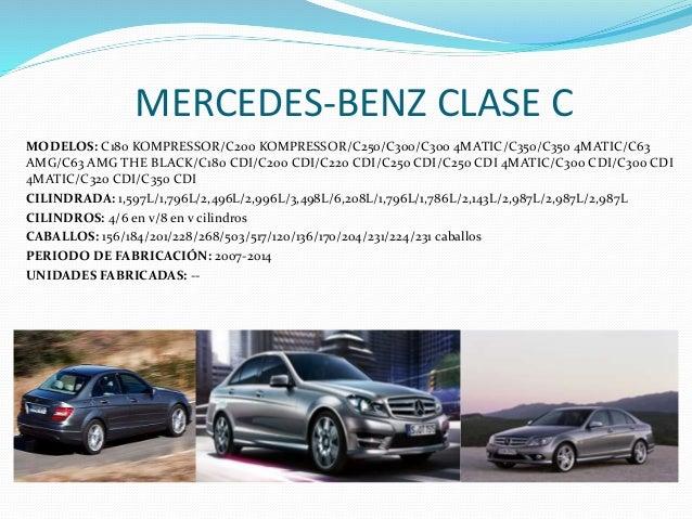 MERCEDES-BENZ CLASE C MODELOS: C180 KOMPRESSOR/C200 KOMPRESSOR/C250/C300/C300 4MATIC/C350/C350 4MATIC/C63 AMG/C63 AMG THE ...