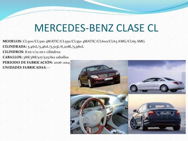 MERCEDES-BENZ CLASE CL MODELOS: CL500/CL500 4MATIC/CL550/CL550 4MATIC/CL600/CL63 AMG/CL65 AMG CILINDRADA: 5,461L/5,461L/5,...