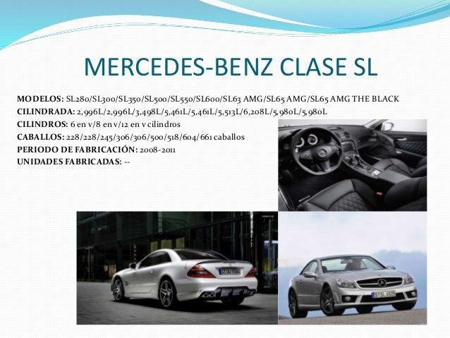MERCEDES-BENZ CLASE SL MODELOS: SL280/SL300/SL350/SL500/SL550/SL600/SL63 AMG/SL65 AMG/SL65 AMG THE BLACK CILINDRADA: 2,996...