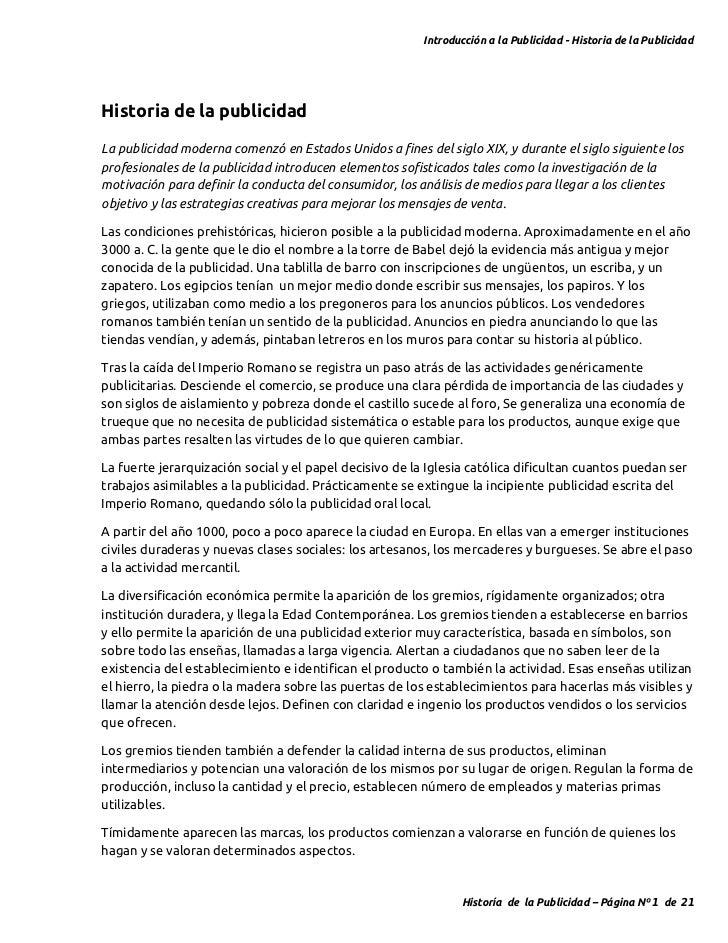 Introducción a la Publicidad - Historia de la PublicidadHistoria de la publicidadLa publicidad moderna comenzó en Estados ...