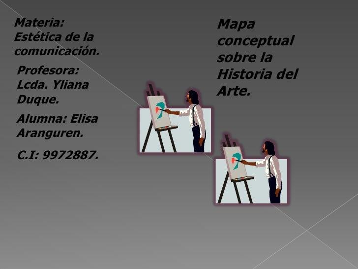 Materia: Estética de la comunicación.<br />Mapa  conceptual sobre la Historia del Arte.<br />Profesora: Lcda. Yliana Duque...